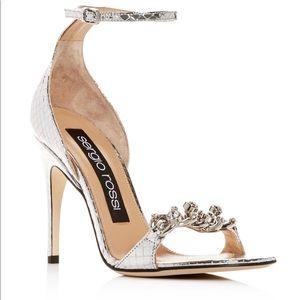 Sergio Rossi silver 37.5 strappie sandal heel nwb
